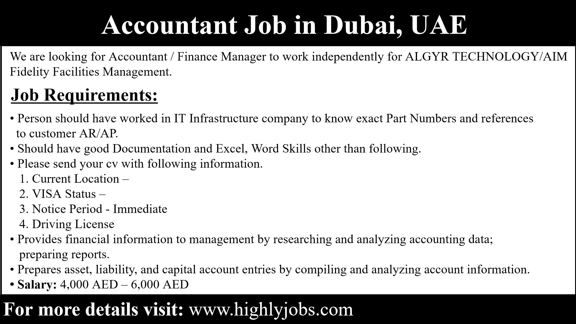 Accountant Job in Dubai with Salary | Highlyjobs