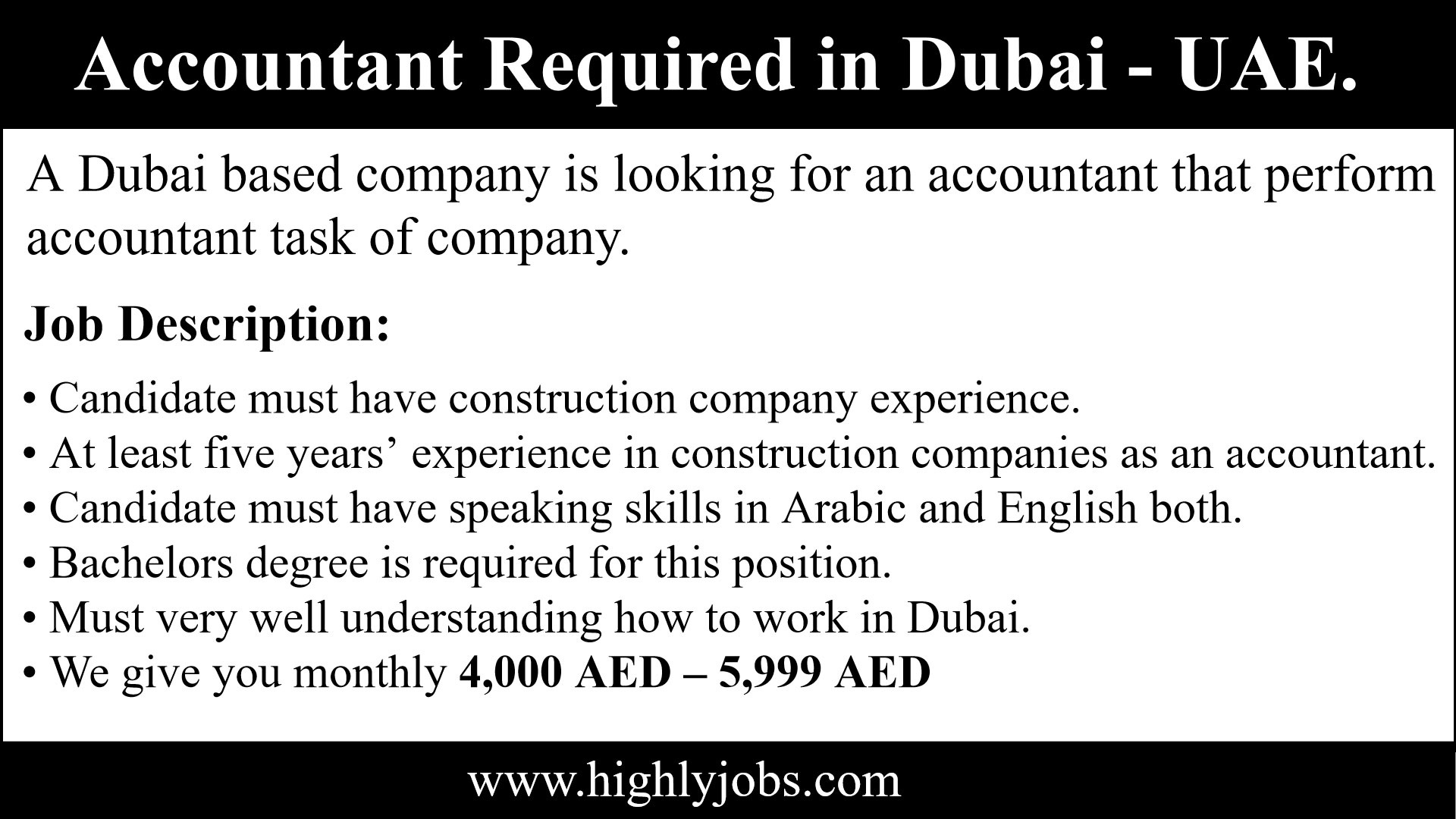 Accountant Job In Dubai, United Arab Emirates | Highlyjobs