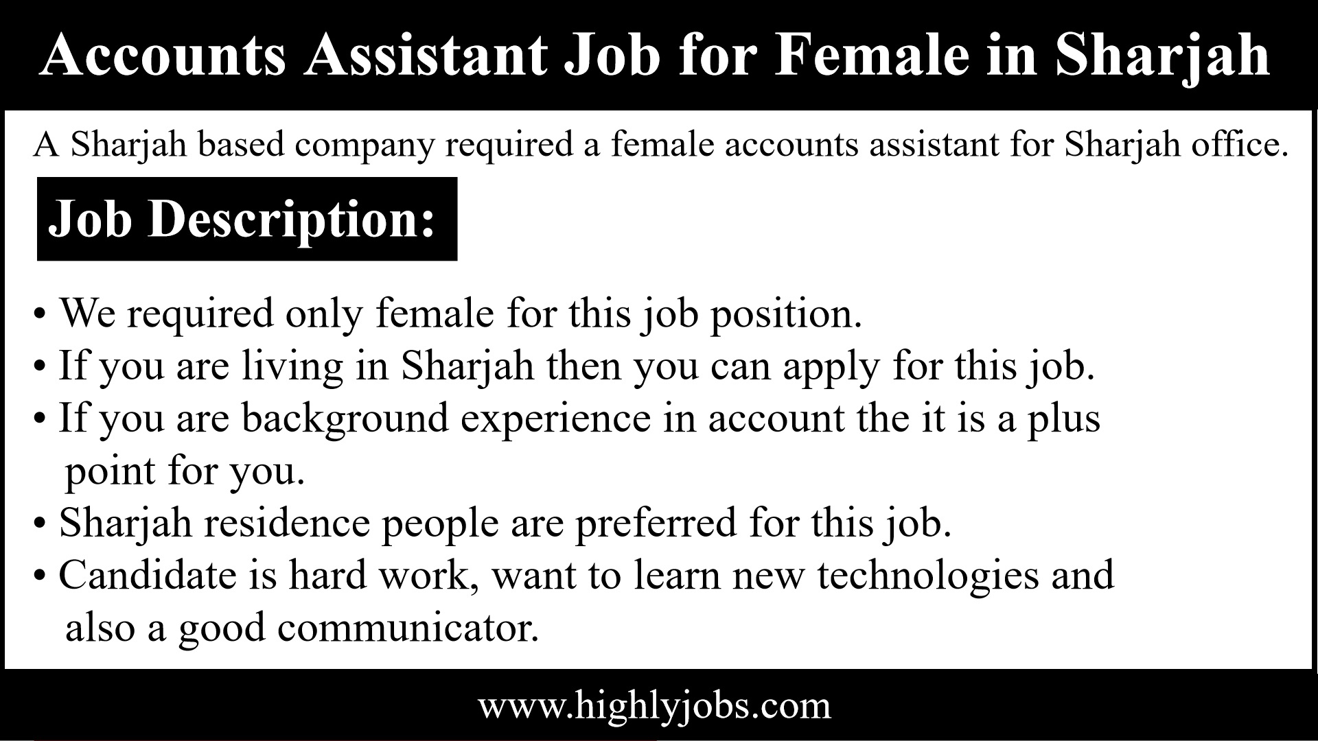 Female Account Assistant Job In Sharjah | Highlyjobs