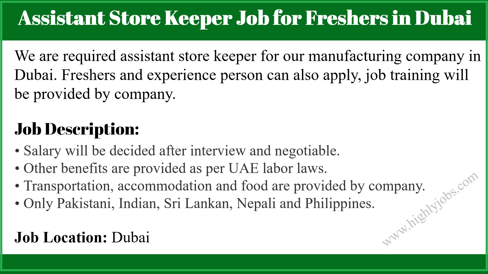 Assistant Store Keeper Job for Freshers in Dubai   Highlyjobs