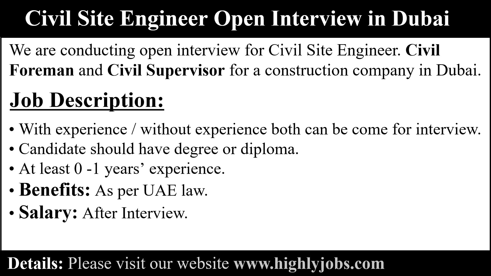 Civil Site Engineer Open Interview in Dubai | Highlyjobs