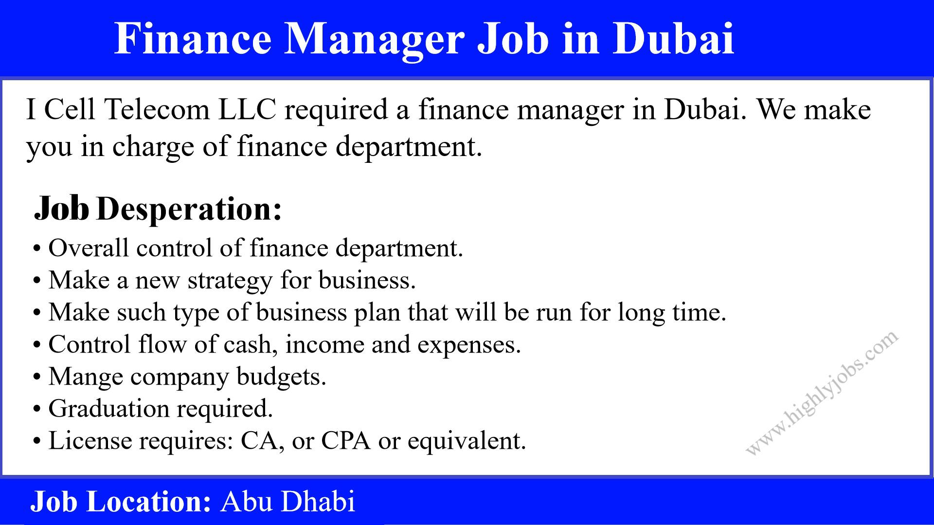 finance manager job in dubai
