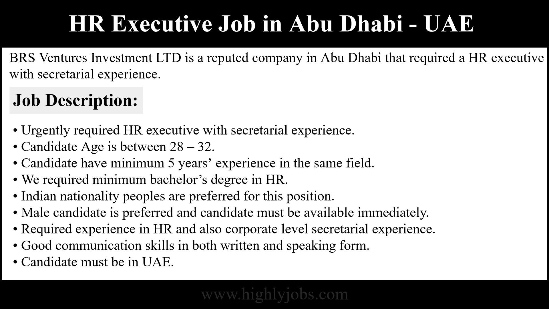 HR Executive Job in Abu Dhabi | Highlyjobs