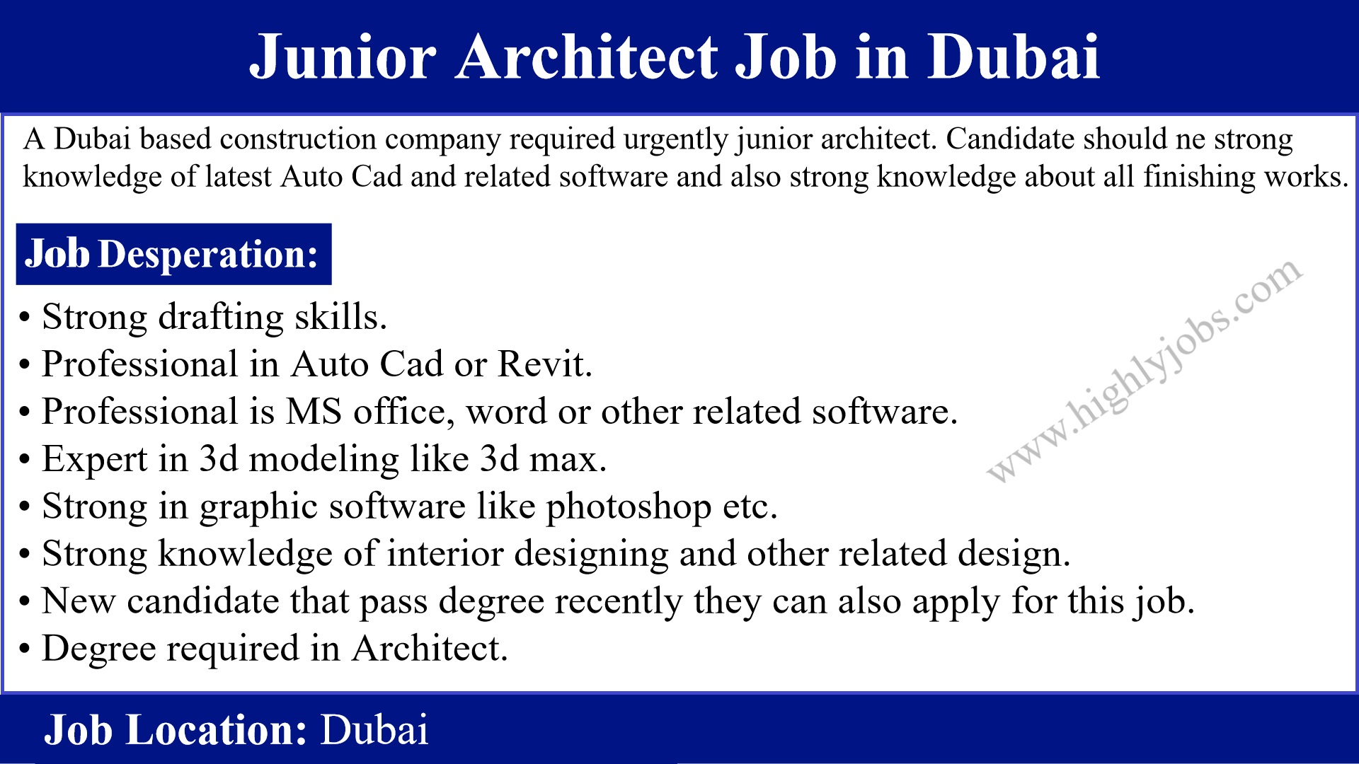 junior architect job in dubai
