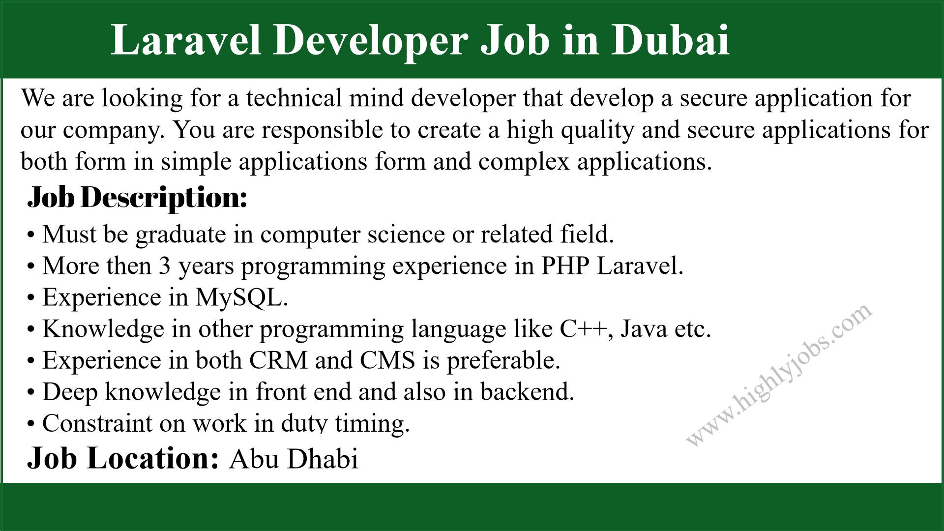 Laravel-Developer-Job-in-Dubai Job Application Form Work Experience on work experience cv, work study application form, contract employee agreement form, employment contract form,