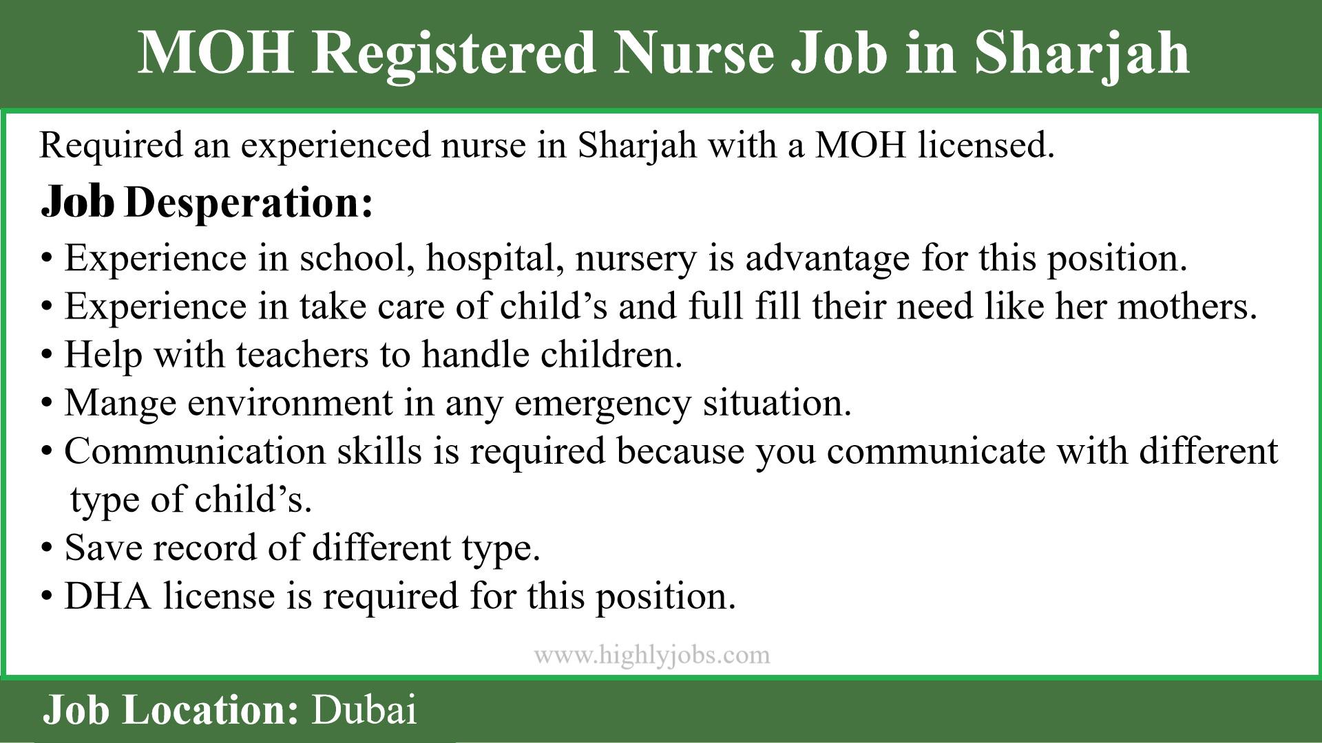Registered Nurse Job in Sharjah | Highlyjobs