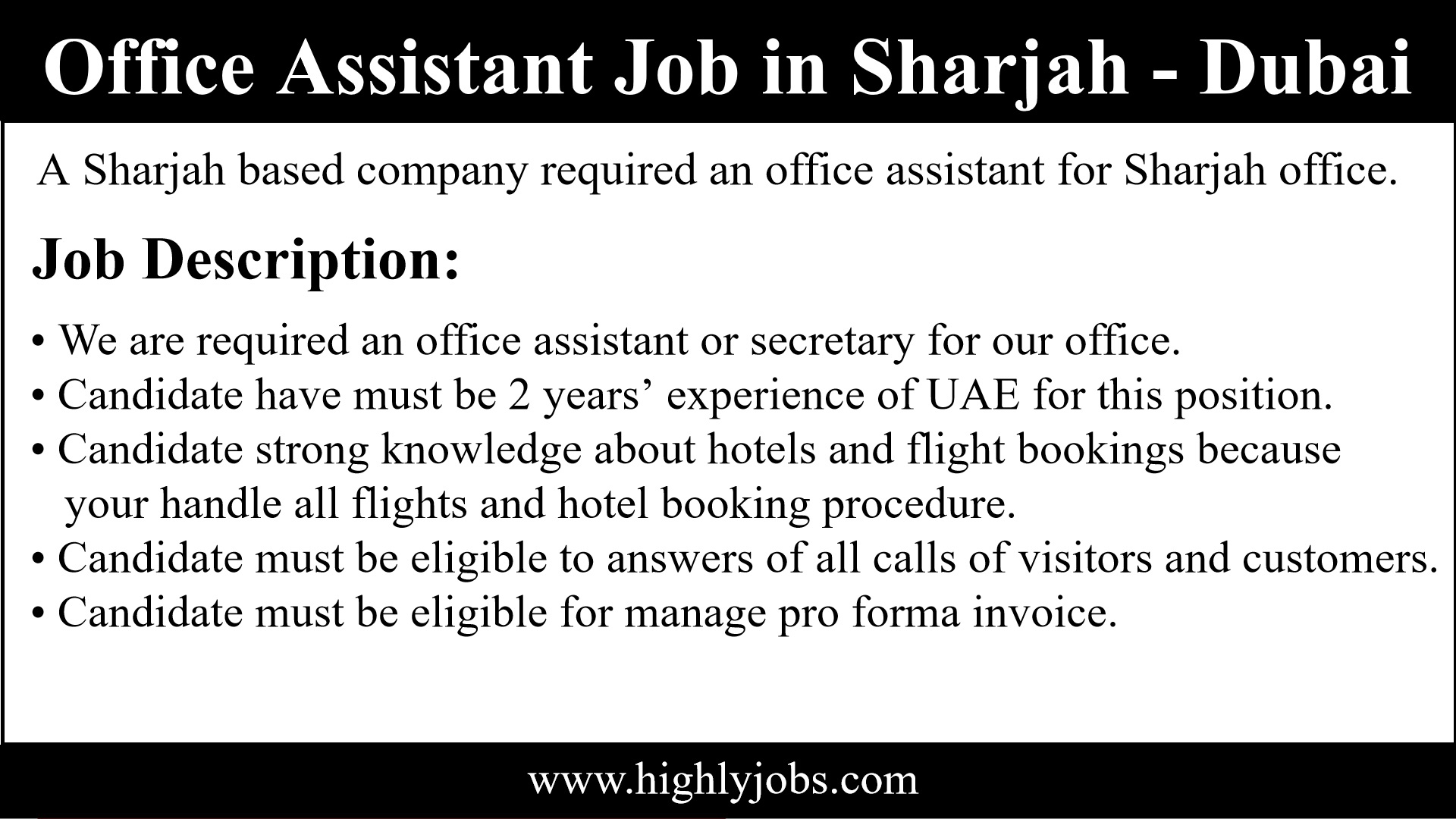 Office Assistant Job in Sharjah | Highlyjobs