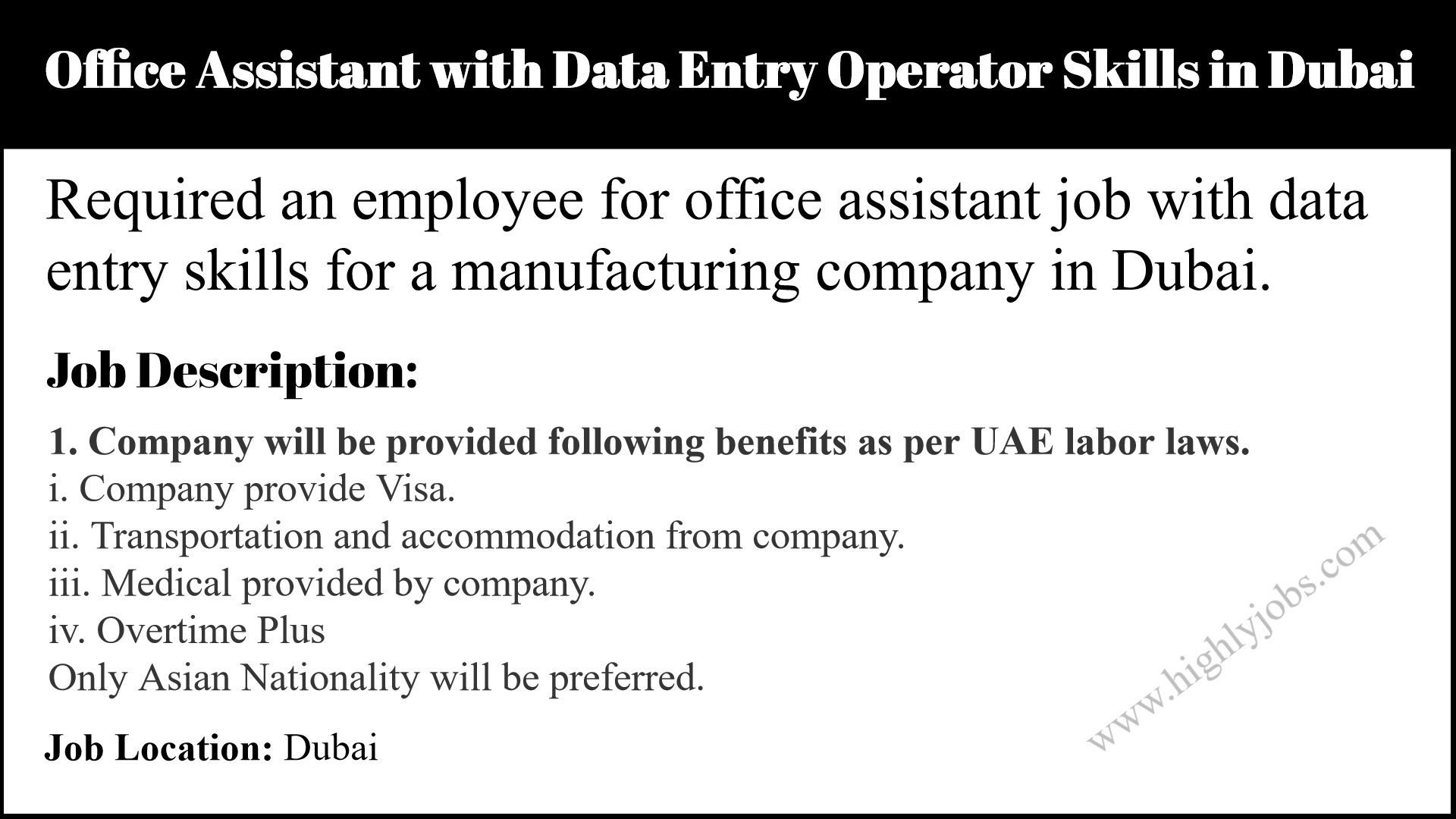 Office Assistant with Data Entry Operator Skills in Dubai