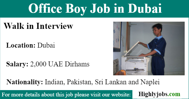 Office Boy Job in Dubai With Salary | Highlyjobs