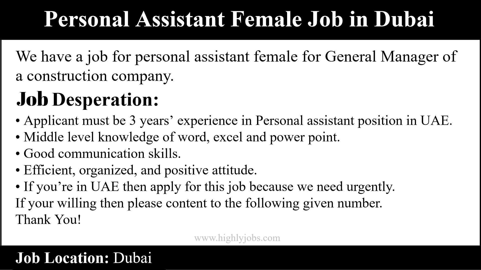 Personal Assistant Female Job in Dubai | Highlyjobs