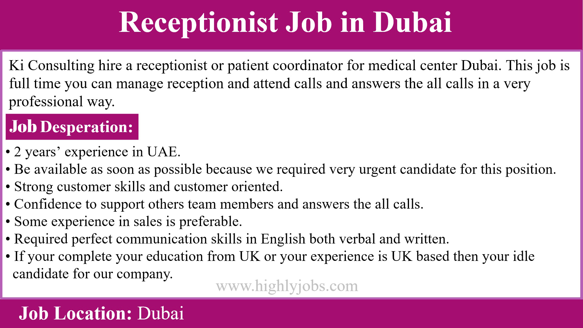 urgent receptionist job in dubai