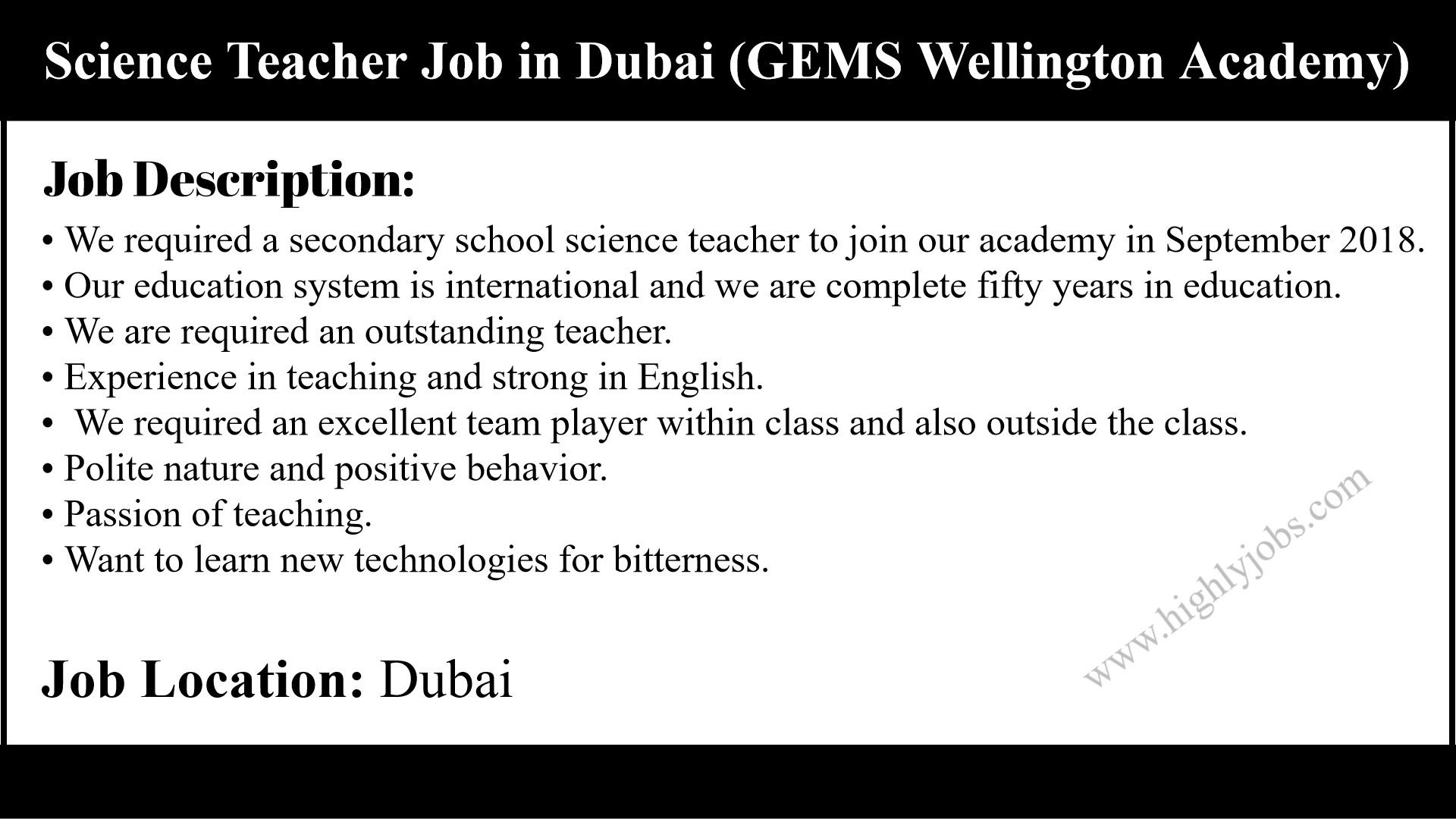 Science Teacher Job in Dubai   Highlyjobs
