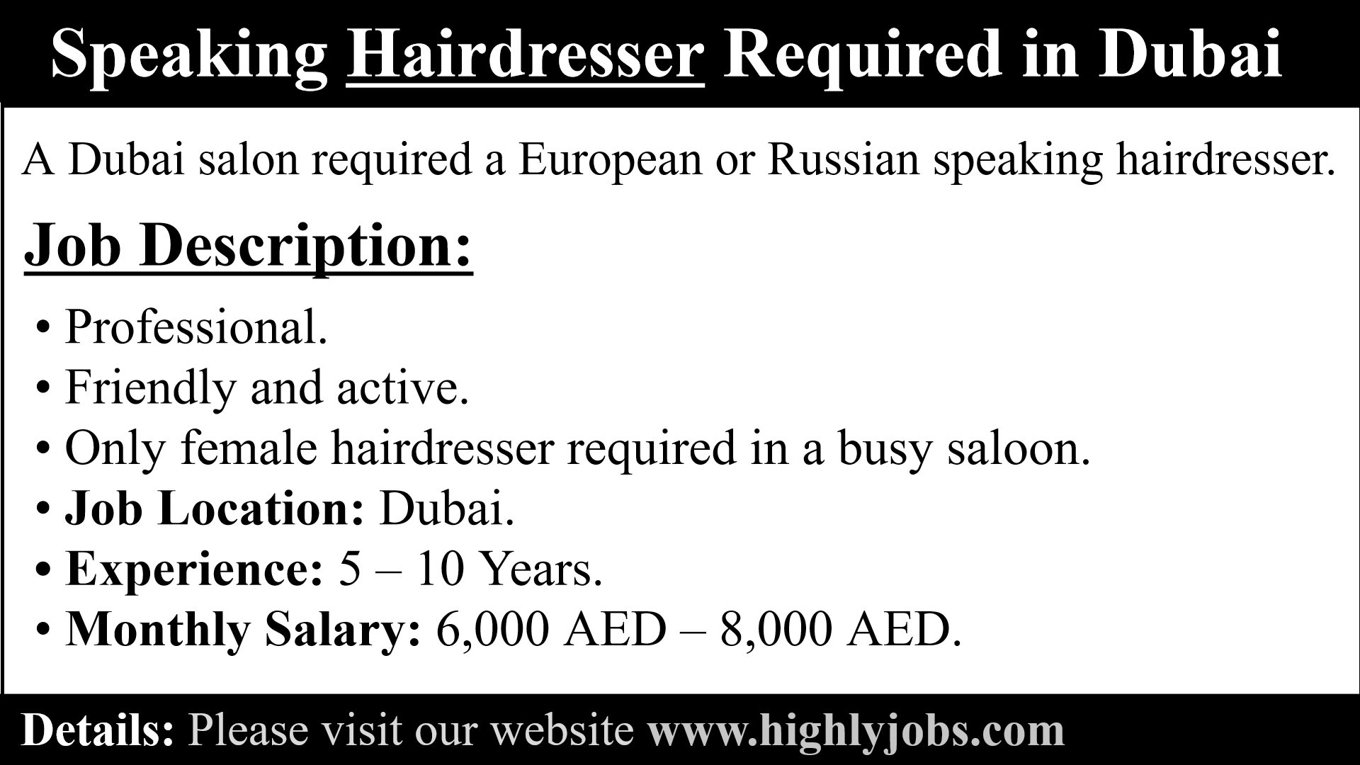 Speaking Hairdresser Required In Dubai